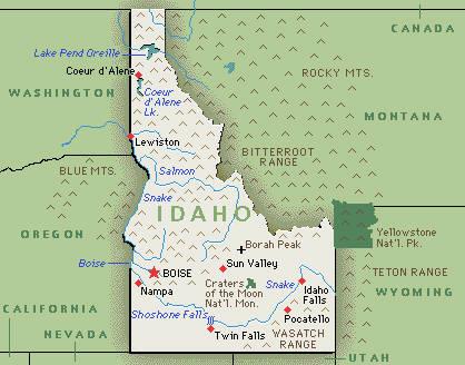Map Usa Idaho Idaho Map