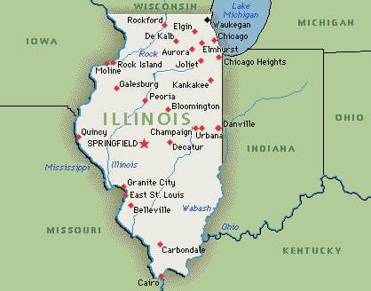 Map Usa Illinois US State of Illinois Map