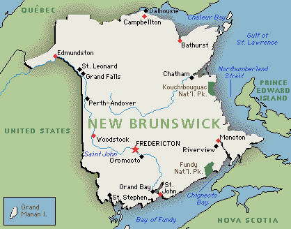 New Brunswick Canada Map Detailed New Brunswick Map: Google map of New Brunswick, Canada | GMT